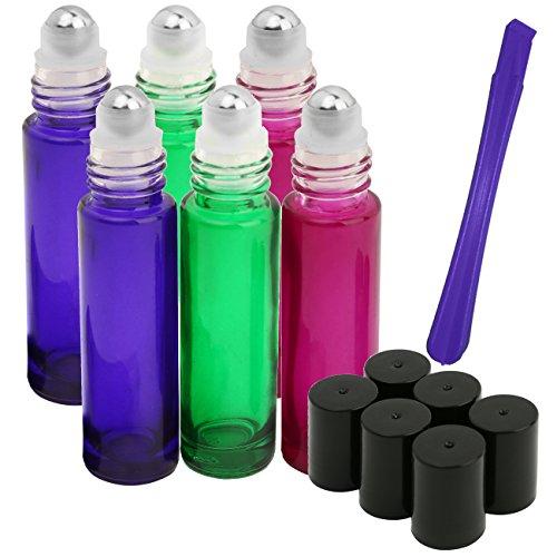 6, der 10ml Flaschen von jamhoodirect–PREMIUM QUALITÄT Glas nachfüllbar Essential Oil Roller auf Flaschen mit Deckel Opener Pry Tool (Geschenk), perfekt für Aromatherapie, ätherischen Ölen, Parfüm und Lippenbalsam