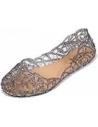 Minetom Damen Sandalen Bird-Nest Weich Plastik Jelly Schuhe Hohl Flach Gelee Ballett Shoes Sommer Mode Casual...
