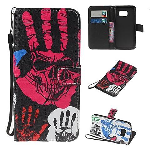 Fanryn Samsung Galaxy S7 Wallet Tasche Brieftasche Schutzhülle ,Gemaltes Muster Design Hochwertige PU Leder Folio Tasche Case Hülle im Bookstyle mit Standfunktion Kredit