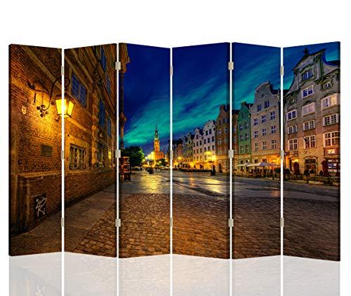 Feeby Foto Biombo Paisaje 6 Paneles Unilateral Ciudad Arquitectura Azúl 216x175 cm