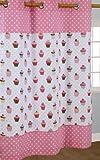 Homescapes Kindervorhang Mädchen Kinderzimmer Ösenvorhang Dekoschal Cup Cakes 2er Set pink blau 137 x 182 cm (Breite x Länge je Vorhang) 100% reine Baumwolle