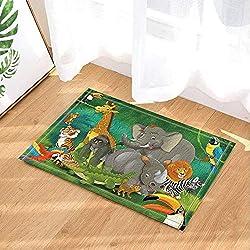 fuhuaxi Elefant Löwe Nashorn Zebra Stern Krokodil Papagei Giraffe AFFE Tiger, große Tierparty, Bad Teppich Teppichboden Rutschfeste Boden Eingang Outdoor-Haustürmatte, 40x60cm Bad Matte Bad Teppich