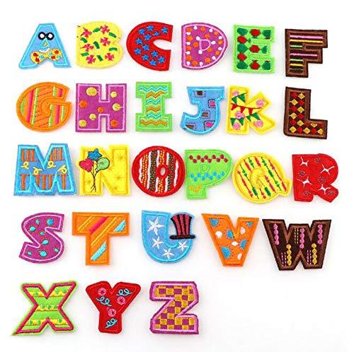 ReNice 26 Stück Buchstaben A-Z Aufnäher, Patches Applikation für Kleidung Jeans Hut (Gestickte Auf Buchstaben Nähen)
