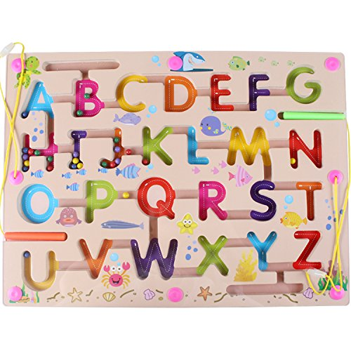 HappyToy magnetische labyrinth puzzle interaktive labyrinth magnet perlen labyrinth auf brettspiel eduactional handwerklichen bildungs - puzzle - spielzeug (alphabet abc buchstaben) (Puzzle Magnet-labyrinth)