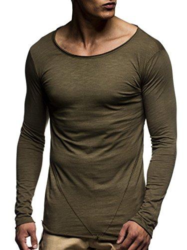 LEIF NELSON Herren Pullover Rundhals-Ausschnitt | Schwarzer Männer Longsleeve | dünner Pulli Sweatshirt Langarmshirt Crew Neck | Jungen Hoodie T-Shirt Langarm Oversize | LN6302 Khaki Large