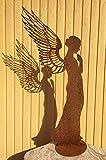 ENGEL SANTINE BETEND 138 cm filigrane Doppelflügel Edelrost Rost Rostfigur Metallfigur Weihnachtsengel Elfe + Original Pflegeanleitung von Dekowelt