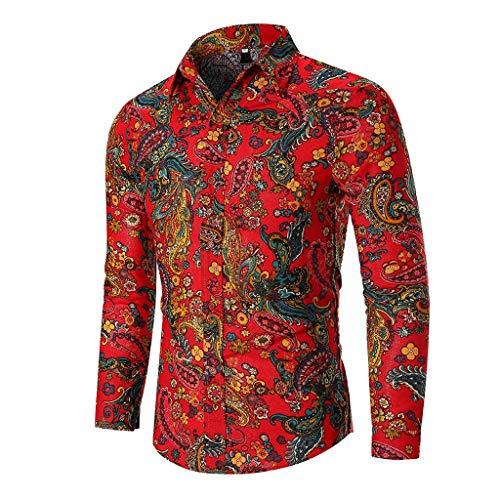 MOTOCO Herren Lange Ärmel Hemden Top Personalisierte Slim Druck Umlegekragen Poloshirt Casual Bluse(M,Rot 2) -