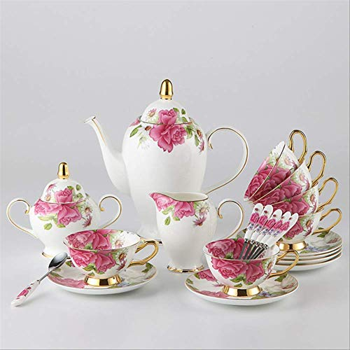 QYYDMKB Britisches Porzellan Kaffeeservice Keramische Teekanne Zuckerdose Milchkännchen Pastoral...