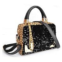 HuaYang Celebrity Fashion Lady Zipper PU Leather Leopard Sequins Shoulder Bag Handbag