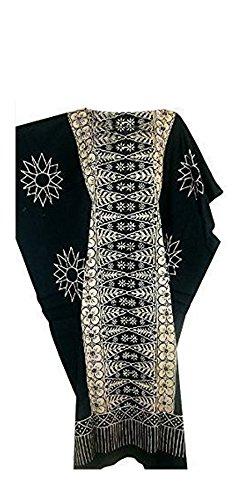 Cool Kaftans Damen Bluse Malaya Schwarz Violett Rot Feiner Batikdruck Baumwolle Strandkleid Übergröße Neu - Regulär, Schwarz