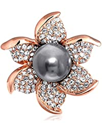 Spargz Rose Gold Plated AD Stone With Gray Pearl Flower Brooch Pin For Girls & Women AISAP_100