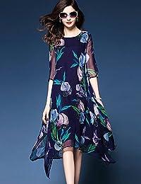 78122f7e541a dress ZLL Largo Vestito da Donna-per Uscire Taglie Forti Moda Città  Fantasia Floreale Rotonda