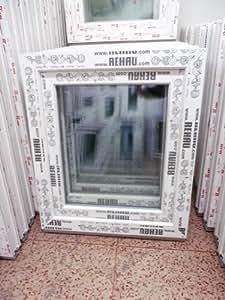 Fenetre plastique 70 x 80 cm (h x b), rehau, pales, blanc, din droite