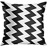 TEPEED Throw Pillow Cover Chevron Zig Zag Black and White Pattern Abstract Chic Color Cool Decorative Pillow Case Home Decor Square 18x18 Inches Pillowcase
