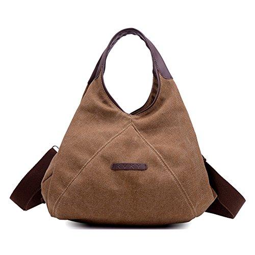 Canvas handbag,portatile/singola spalla /messenger bag,borse da viaggio per il tempo libero-bianca marrone