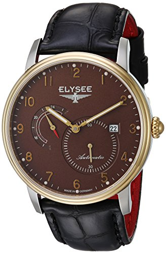 ELYSEE MEN'S PRIAMOS 41MM BLACK LEATHER BAND STEEL CASE AUTOMATIC WATCH 77016B