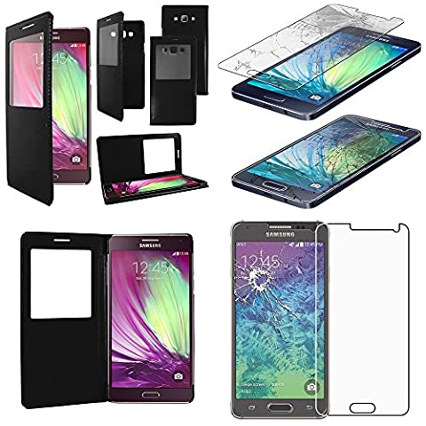 ebestStar - pour Samsung Galaxy A5 SM-A500F (2015) - Housse Coque Etui Slim Portefeuille avec Fenêtre View + Film protection écran en VERRE Trempé, Couleur Noir [Dimensions PRECISES de votre appareil : 139.3 x 69.7 x 6.7 mm, écran 5'']