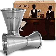 Double Jigger Set by Barvivo - Measure Liquor with Confidence Like a Professional Bartender - These Stainless Steel Cocktail Jiggers Holds 0.5oz / 1oz & 0.8oz / 1.7oz - Perfect for Your Home Bar.