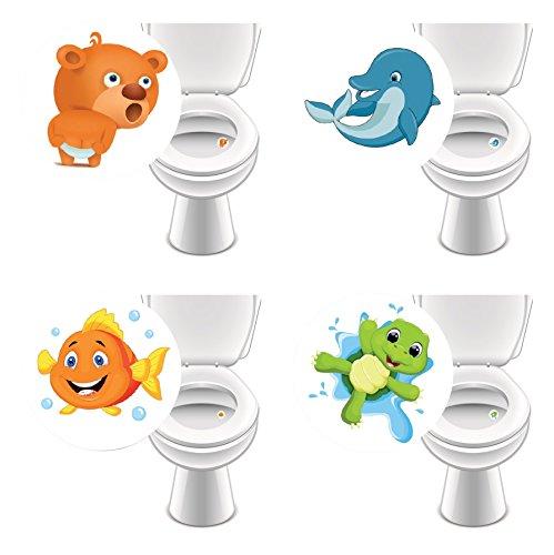8 x Aufkleber LIEBLINGSTIERE für WC, Toilettensticker lustig Kinder Badausstattung damit Jungs besser zielen✔️