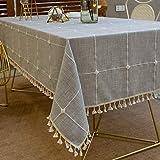 Pahajim Nappe Exterieur Rectangulaire Anti Tache Nappe Lavable Tissu Nappe Table a Manger Nappe Cuisine Nappe Picnic Nappe Design Pompon Décoration De Table(Gris carré,140 x 220cm)
