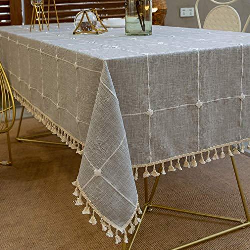 Pahajim Design a Nappa a Scacchi a Prova di Polvere Tovaglia Antimacchia Quadrata per Tavolo Rettangolare Decorazioni Cucina Lino Cotone Lavabile(Grigio Reticolo,140x220cm)