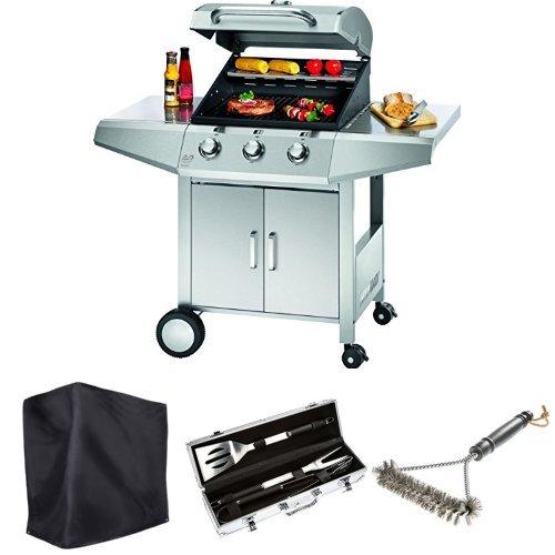 Profi Cook PC-GG 1057 Gasgrill 3-Brenner + Ultranatura Barbecue Grill Hülle Chateau + Bruzzzler Edelstahl Grillbesteck-Set 3-teilig im Koffer + Bruzzzler Grillbürste mit Edelstahlborsten 3-seitig