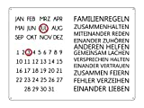 INTERLUXE WANDKALENDER Blechschild Kalender FAMILIENREGELN Shabby Vintage Geschenk Dekoration Haus Wohnung