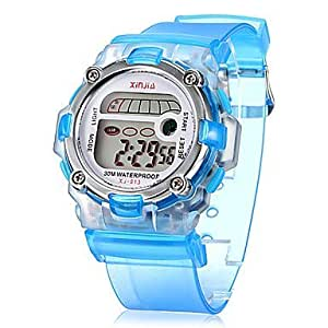 Children's Multifunctional Digital LCD Transparent Silicone Band Wrist Watch (Assorted Colors) ( Color : Blue )