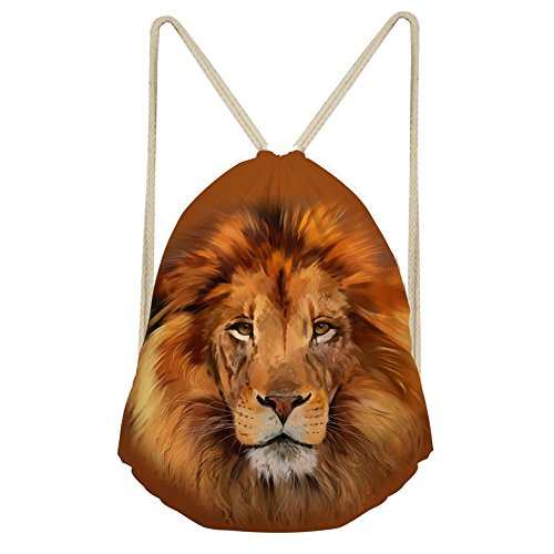 Kordelzug Cinch Tasche (showudesigns Funny Animal Muster Kordelzug Tasche Kinder Erwachsene Cinch Gym Aufbewahrung M löwe)