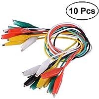 UKCOCO - Juego de 10 pinzas de cocodrilo de 50 cm con doble extremo de cocodrilo, alambre para puente y mini pinzas de prueba, cable de prueba (rojo, negro, blanco, amarillo, verde)