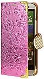 iCues HTC One M8 |  Chrom Blumen Tasche Pink | [Display Schutzfolie Inklusive] Floral Strass Glitzer Glitter Luxus Bling Damen Frauen Mädchen Chrome Book Klapphülle Schutz Etui Handytasche zum aufklappen Flip Case Schutzhülle Booklet Hülle Wallet