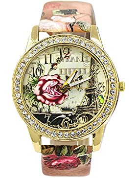 Frauen Vintage Retro Eiffelturm Blumen Uhr mit Strass besetzt um das Zifferblatt Armbanduhr Kunstleder Mode 1