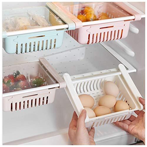 Cdoston Kühlschrank Schubladen Organizer, Einstellbare Lagerregal Kühlschrank Partition Layer Organizer, Ausziehbare Kühlschrank Regal Halter, Kühlschrank lebensmittel Aufbewahrungsbox (1 Stück, Weiß)