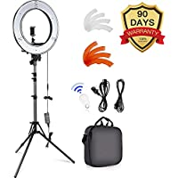 """18-inch Ring Lights with Stand, Camera Photo Video 18""""/ 48cm Outer 55W LED Ring Light Heavy Duty Aluminum Alloy Photography Studio Light Stands for Smartphone, Youtube, Vine Self-Portrait Video Shooting, for Selfie Makeup YouTube Photo Video Shooting Portrait"""