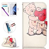 Galaxy S7 Case, G9300 Wallet Case Cover,NEWSTARS Color Printed Romantic Colorful Pretty Beautiful Cute Painted Funny Pattern Premium PU Leather Flip Cover with Card Slots & Kickstand for Samsung Galaxy S7 (2016) [+ 1Pcs Stylus Touch Pen+ 1Pcs Screen Protector].Bear I Love You