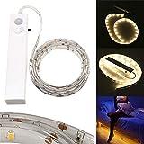 Comtervi LED Lichtleiste Bewegungssensor, batteriebetriebenes Powered LED Streifen mit Bewegungssensor für Schlafzimmer Schrank,Treppen,Nachttisch,Flur,WC