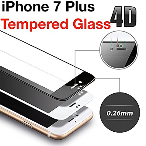 iPhone 7 plus Schutzfolie 4D Touch Kompatible Displayschutzfolie Apple iPhone 7, Schutzfolie Gehärtetes Panzerfolie, Panzersglas 9H Hartglas Displayschutzfolie für iPhone 7 Plus - 1 Pack (weiß)
