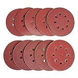 100 hojas de lijado, discos de lija de 125 mm, 10 unidades cada uno,40/60/80/100/120/180/240/320/400/800, hojas de papel de lija para lijadora orbital aleatoria y todas las herramientas oscilantes