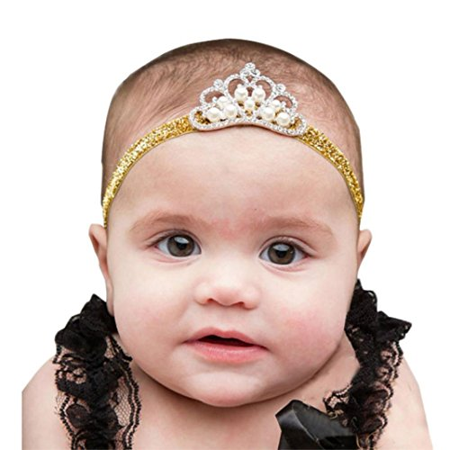 cinnamou Crown Hairband - Prinzessin Crystal Pearl Crown Stirnband - Baby Mädchen (A)