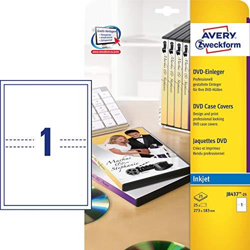 AVERY Zweckform J8437-25 DVD-Einleger für Filmbox (A4, 25 Stück, 273 x 183 mm, 25 Blatt) weiß
