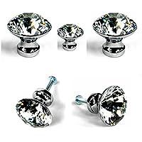 WINGONEER 5pcs 30 mm Forma de diamante cristal Tirador Pomo para armarios y cajones/Great for Alacena, Cocina y Baño Armarios, Persianas, etc