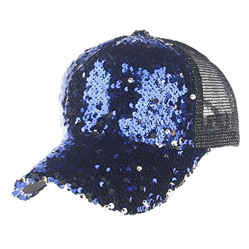 UFACE Pailletten-Mosaik-Netzkappe Baseballkappe Unisex Pailletten Mesh Cap Fashion Baseball Cap Frauen Und Männer Sonnenhut (Blau)