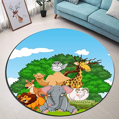 LB Tiere im grünen Wald Runder Teppich Weiße Wolke im blauen Himmel Weich Waschbar Innen Teppich Fußmatte/Türmatte/Spielmatte für Wohnzimmer Schlafzimmer Kinderzimmer,Durchmesser von 120cm -