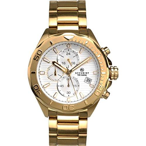 Homme Accurist London Argent chronographe Cadran Doré Bracelet acier inoxydable montre 7181