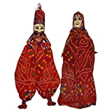 Pair of Male and Female antique handmade Rajasthani Famous Handmade Puppets with hanging