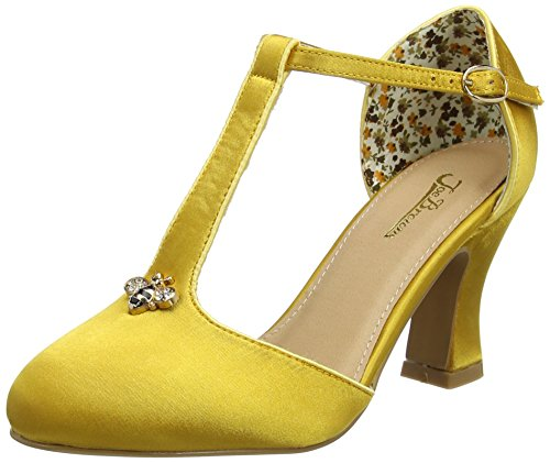 Joe Browns Sweet As Honey Vintage Shoes, Scarpe Col Tacco con Cinturino a T Donna Yellow (Gold)