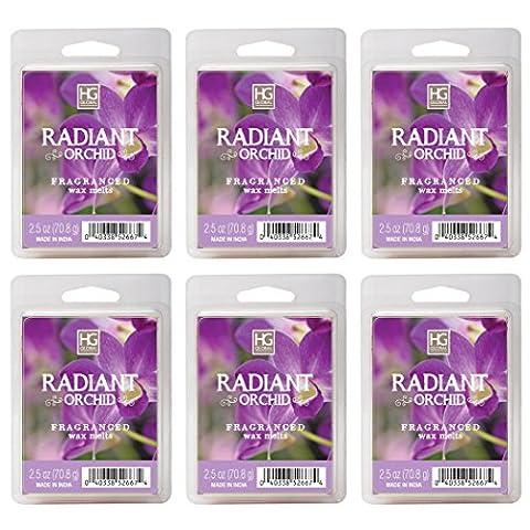 Hosley de cubes de cire Radiant Orchidée/fond–Lot de 6/70,9gram chaque. coulée à la main Cire Infusé avec des Huiles Essentielles.