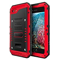 Beeasy Case Compatible with iPhone 7/8,[Shockproof] Waterproof Heavy Duty with Screen,Cover Strong Metal Full Body Protective,Drop Proof Tough Rugged Military Grade Defender for Outdoor Sports,Red