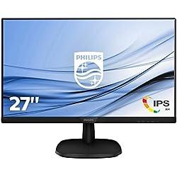 "Philips 273V7QDSB/00 - Monitor LCD IPS de 27"" con Flicker Free (resolución 1920 x 1080 Pixels, Panel IPS, tecnología LED, Bordes Ultraestrechos, Modo LowBlue, 5 ms, HDMI/VGA/DVI-D), Color Negro"