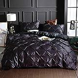 Fansu Housse de Couettes 2 Personnes Parure de lit avec Couette plissée, 3 Pièces Soie lavée Ensemble de Literie avec 1 Housses de Couettes 2 Taies d'oreillers (220x240cm,Noir)